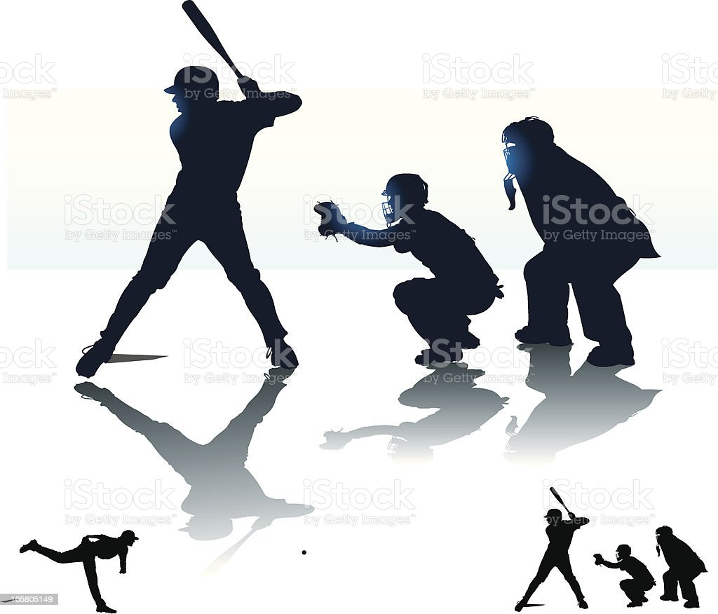 Baseball Batter Batting with Catcher & Umpire - At Bat vector art illustration