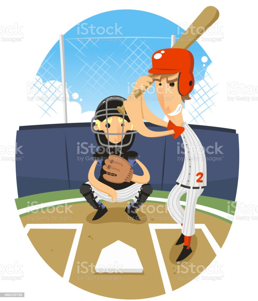 Baseball Batter Batting with Catcher vector art illustration