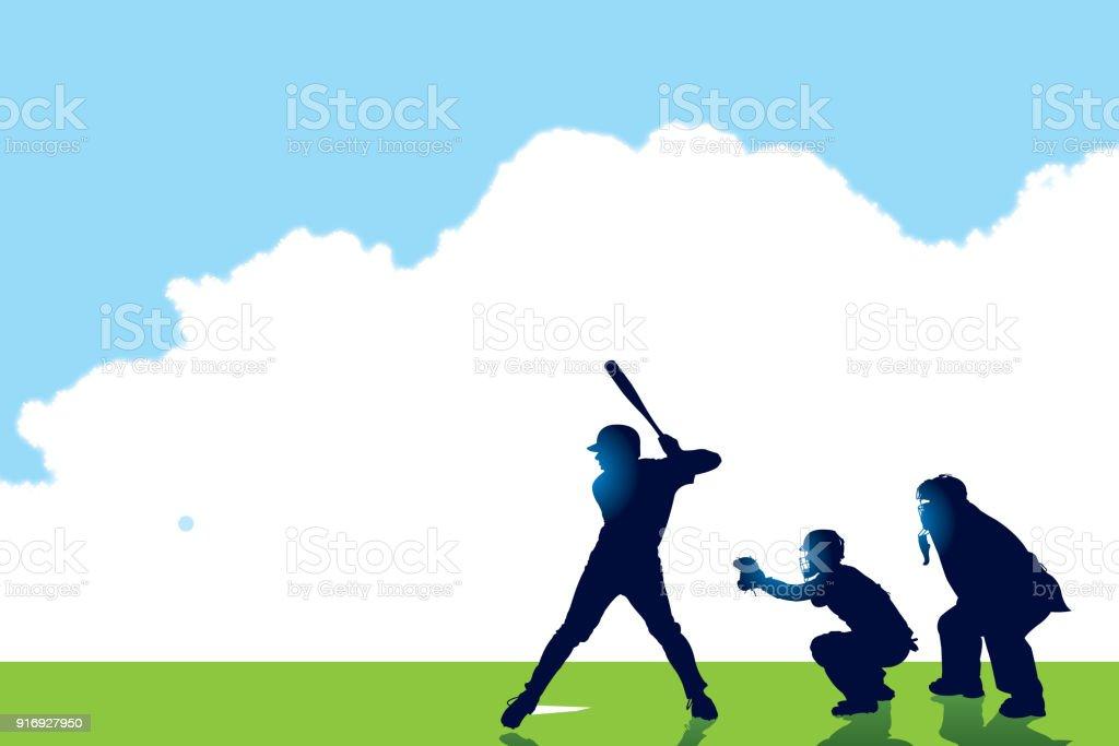 Baseball batter, Catcher, Umpire Background vector art illustration