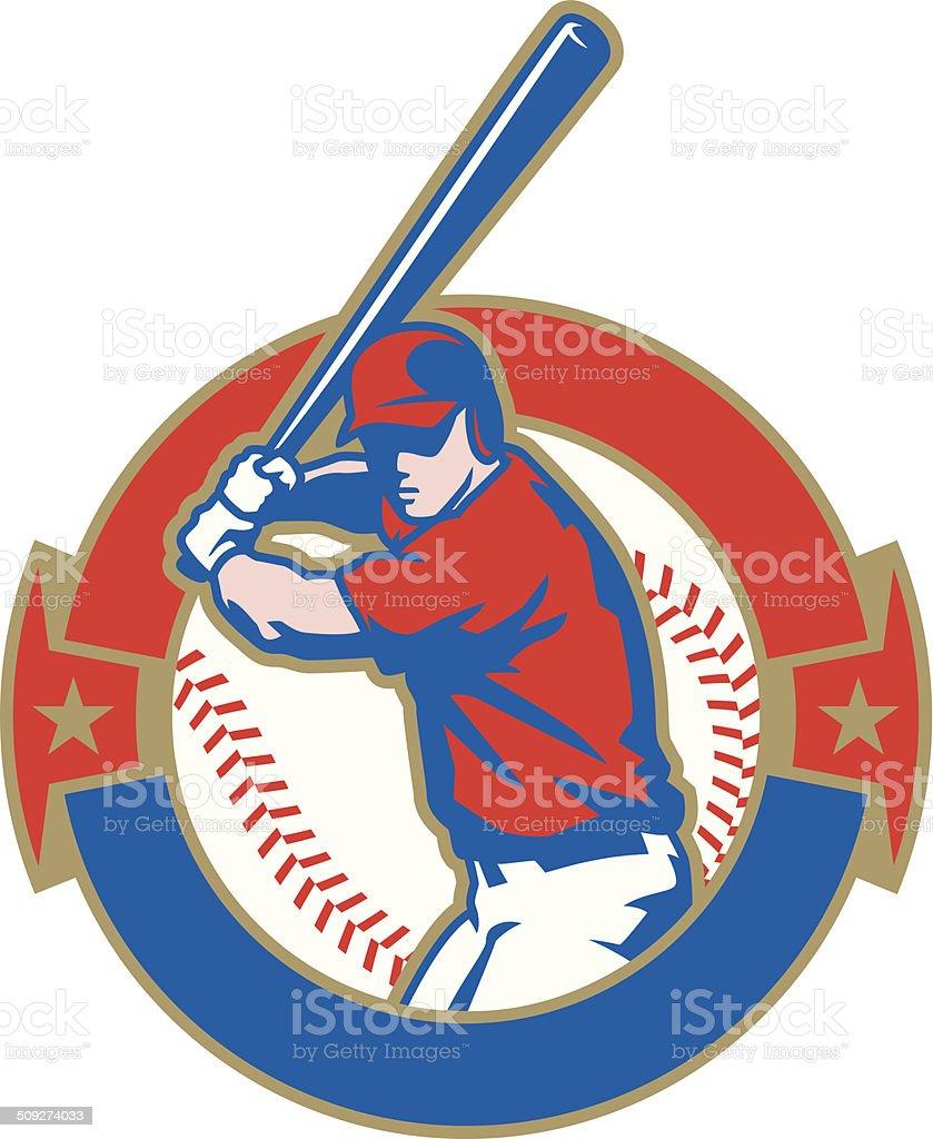 Baseball Batter Crest vector art illustration
