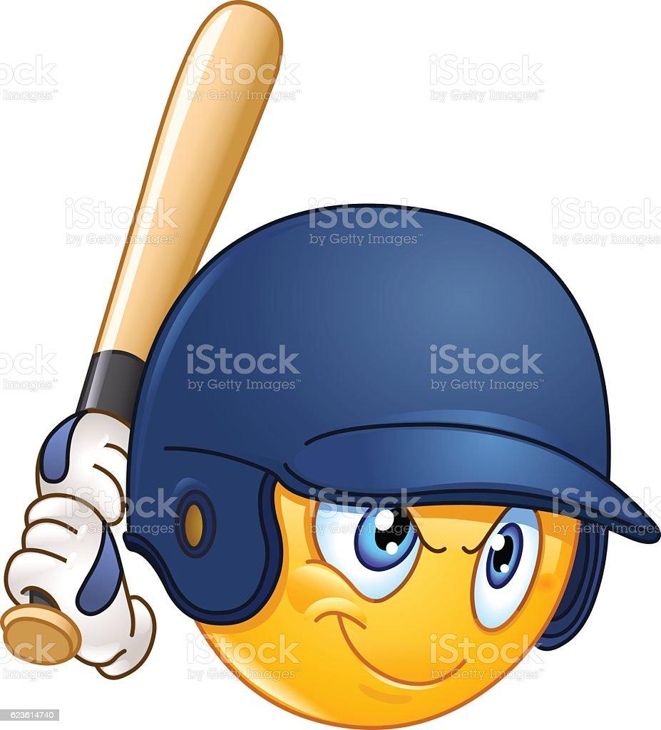 Baseball batter emoticon vector art illustration