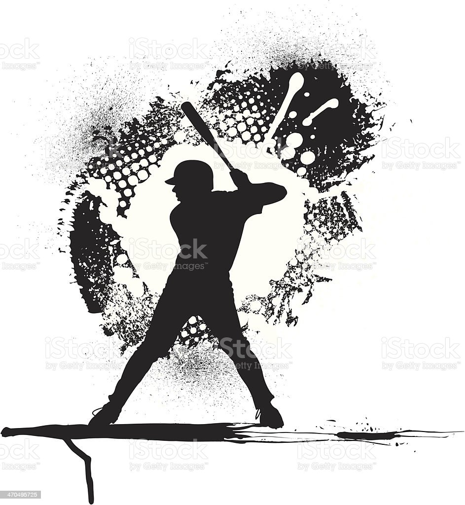 Baseball Batter Grunge Graphic Background vector art illustration