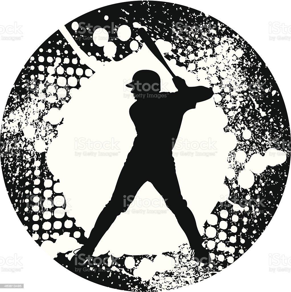 Baseball Batter Grunge Graphic vector art illustration