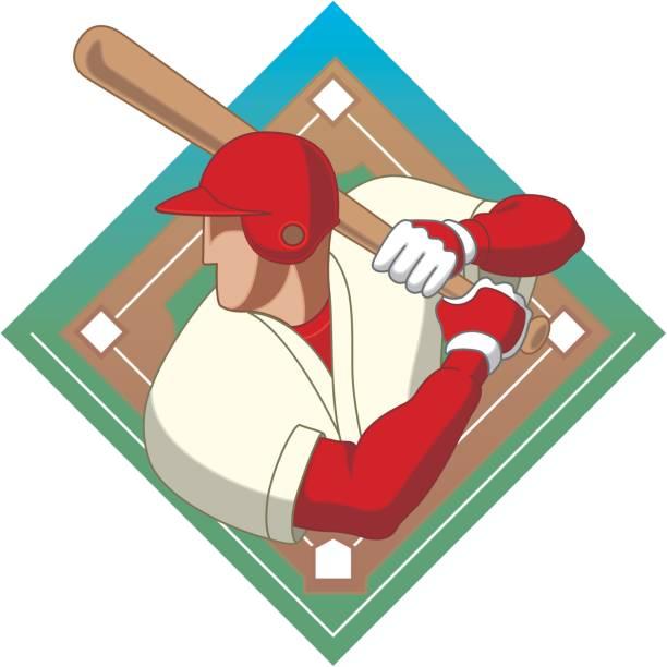 baseball batter male vector art illustration