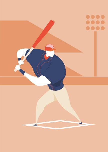 Baseball - Batter pose - Illustration - Character vector art illustration