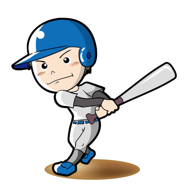Baseball - Batter pose vector art illustration
