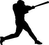Vector of a Baseball batter making a powerful swing