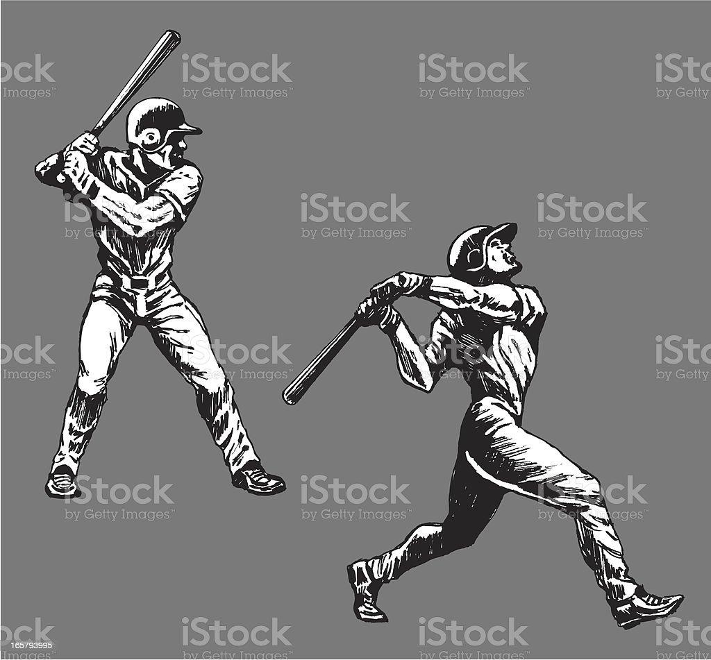 Baseball Batters Swinging Bat vector art illustration
