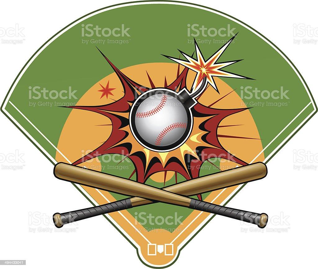 Baseball Bomb vector art illustration