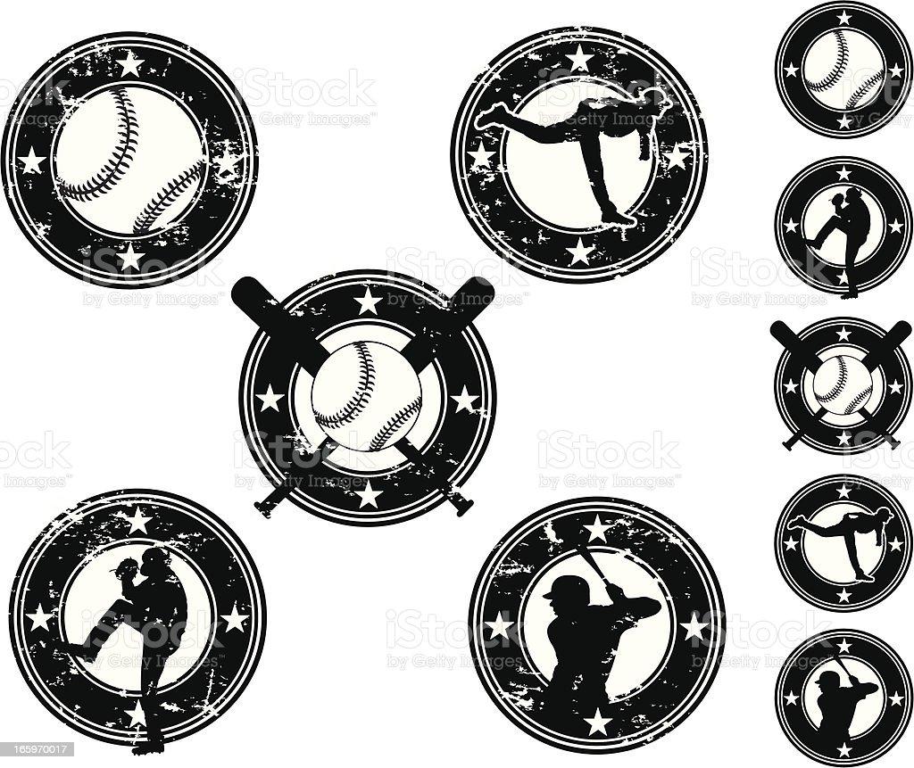 Baseball Button Designs vector art illustration