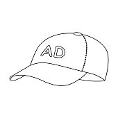 Baseball cap advertising icon in outline style isolated on white background. Advertising symbol stock vector illustration.