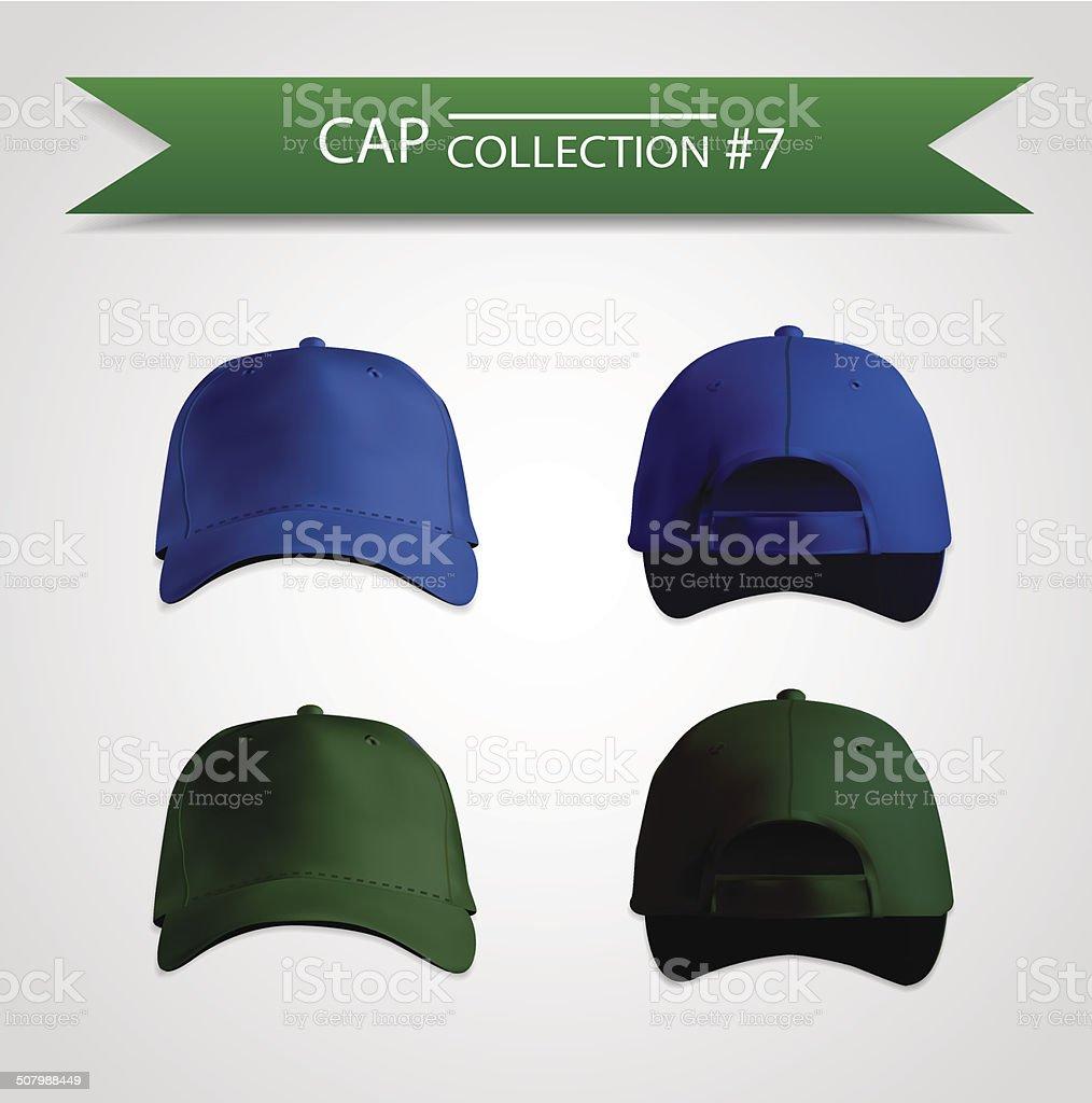 Baseball cap collection for branding vector art illustration
