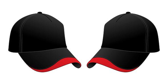 Baseball Cap Design Vector (Black / Red)