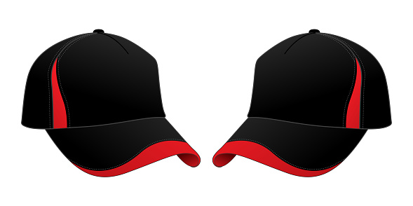 Baseball Cap Design Vector With Black/Red Colors.