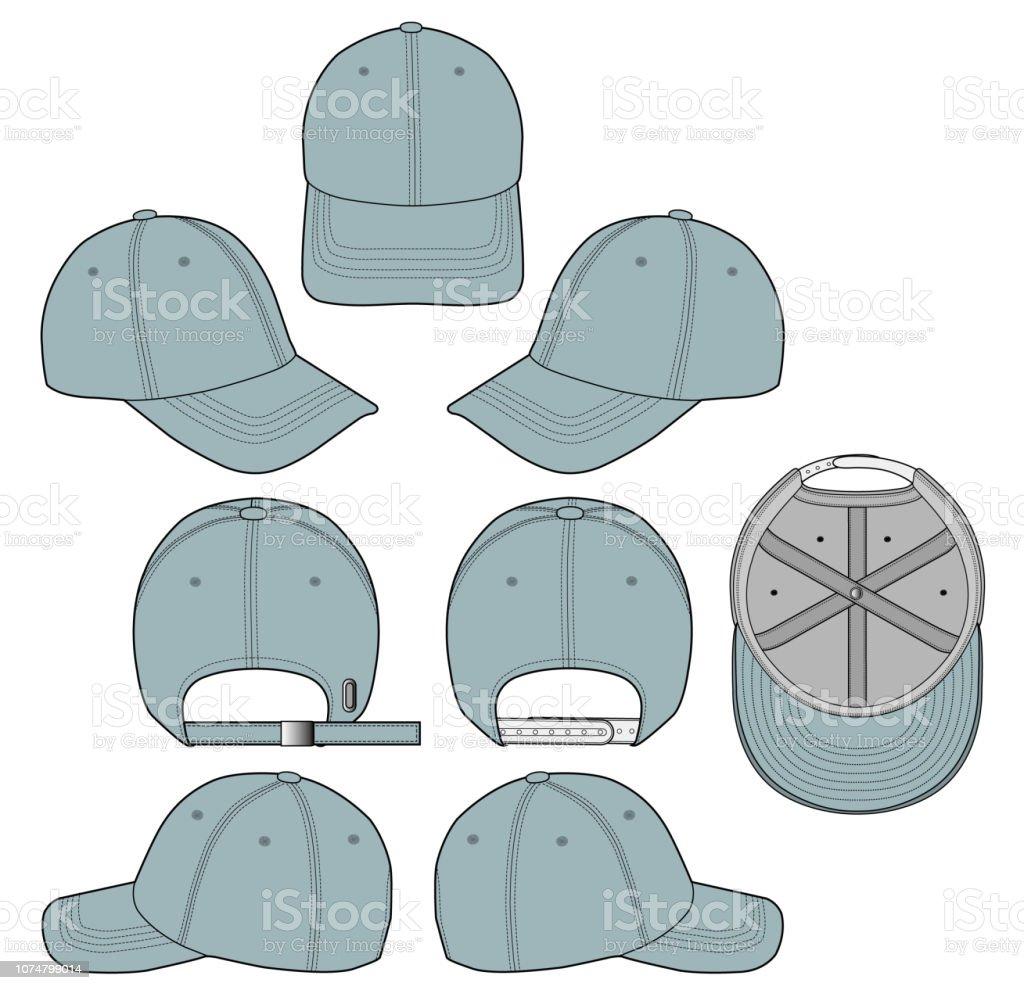 Baseball Cap Fashion Flat Technical Drawing Template Stock