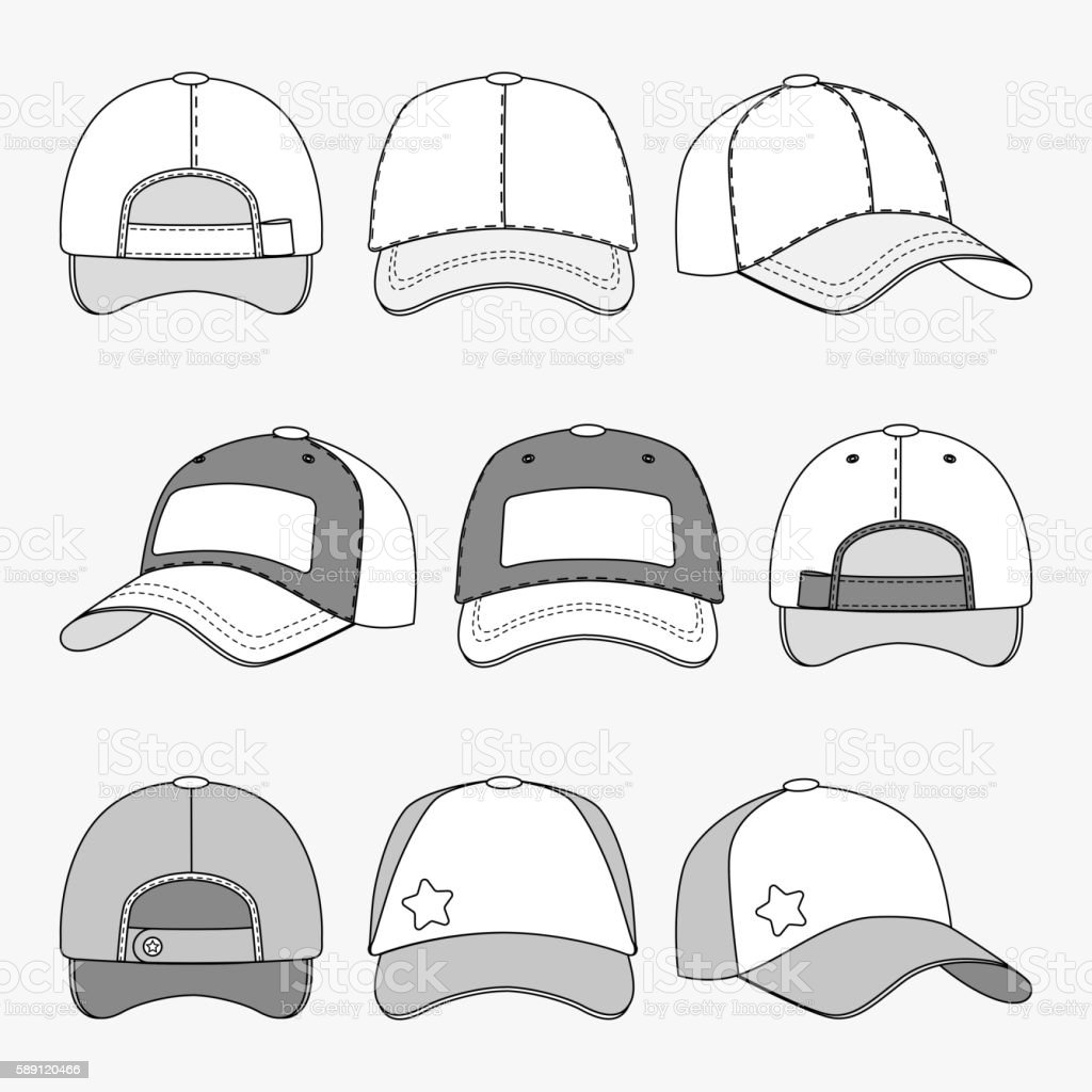 Baseball cap front back and side view outline vector template vector art illustration
