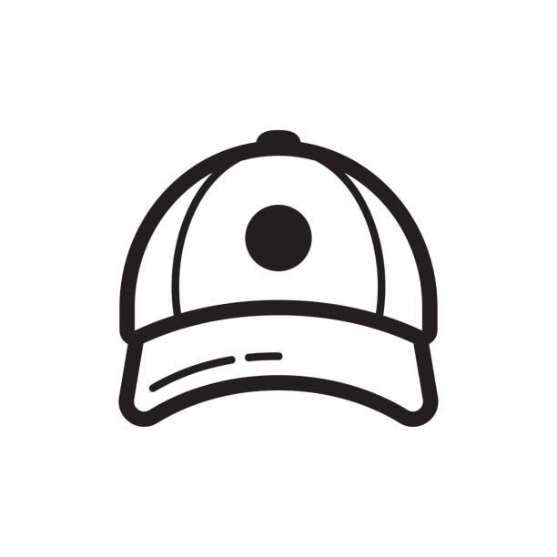 stockillustraties, clipart, cartoons en iconen met honkbal glb pictogram. vlakke stijl ontwerp - flat cap