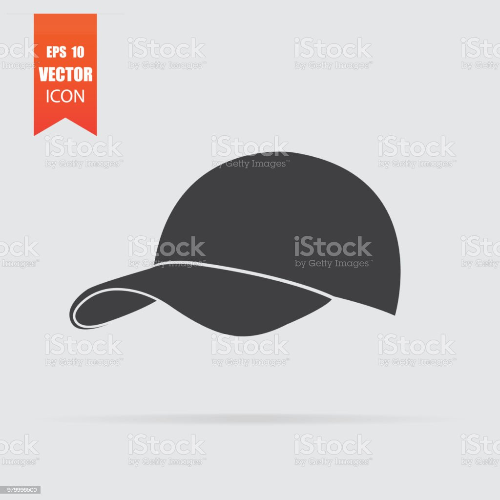 Baseball cap icon in flat style isolated on grey background. vector art illustration