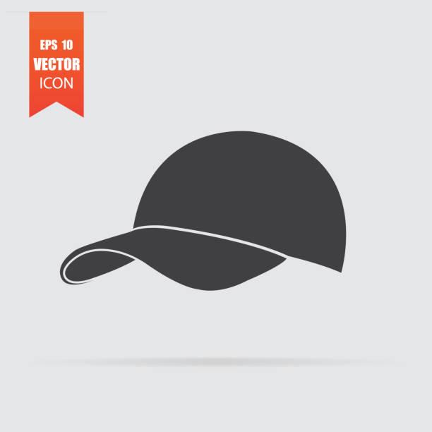 bildbanksillustrationer, clip art samt tecknat material och ikoner med baseball cap ikonen i platt stil isolerad på grå bakgrund. - hatt