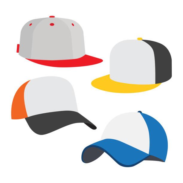 bildbanksillustrationer, clip art samt tecknat material och ikoner med baseball cap ikonuppsättning - hatt