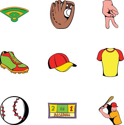 Baseball cap icons set, cartoon style