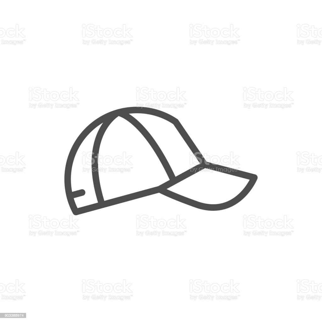 Baseball cap line icon vector art illustration
