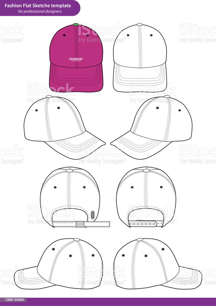 Baseball Cap Set Fashion Flat Technical Drawing Vector Template Royalty Free