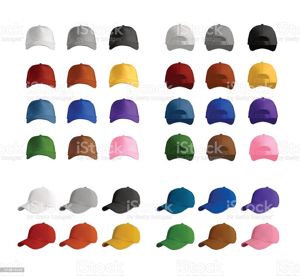Baseball cap template set vector art illustration