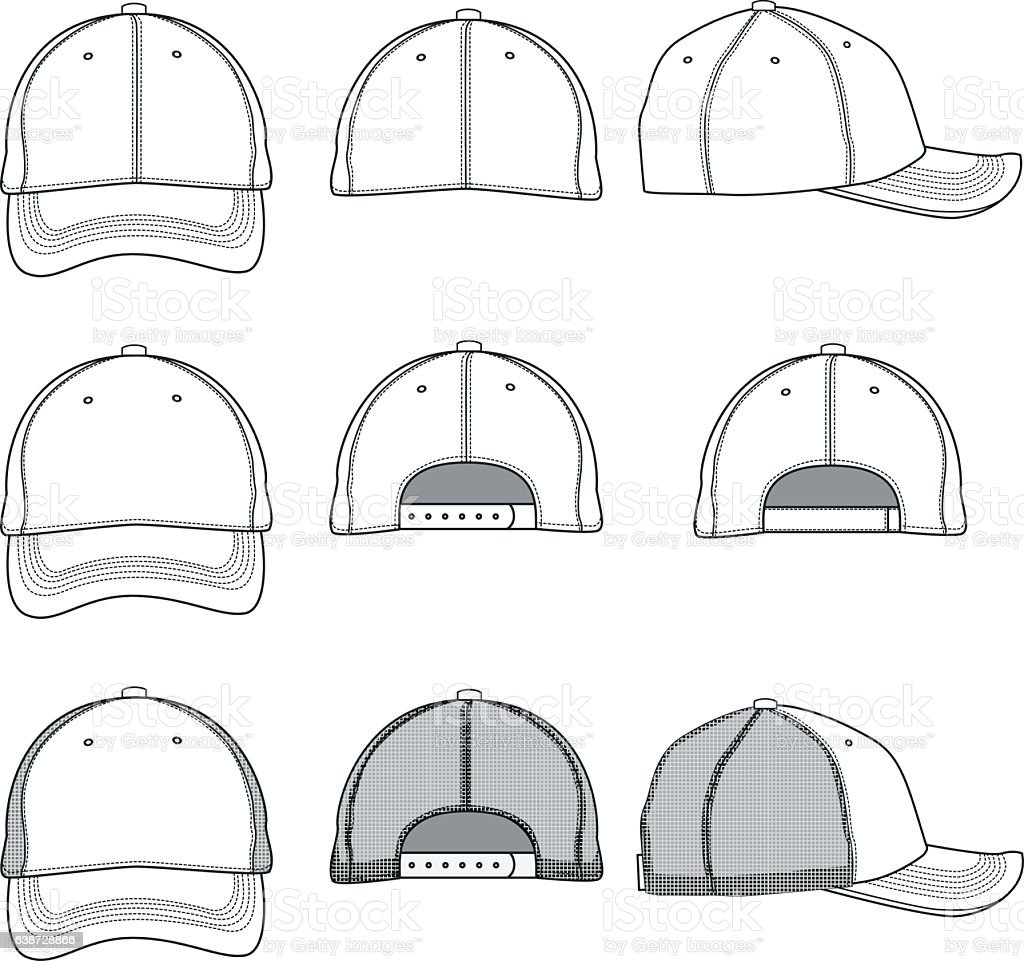 baseball cap template stock vector art more images of adjustable 638728866 istock. Black Bedroom Furniture Sets. Home Design Ideas