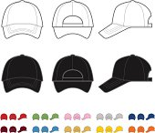 Vector illustration of a baseball cap. Front, rear and side views. Easy color change.
