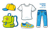 Baseball cap, white t-shirt, blue jeans, sneaker, backpack. Sport casual summer wear vector icons set isolated.