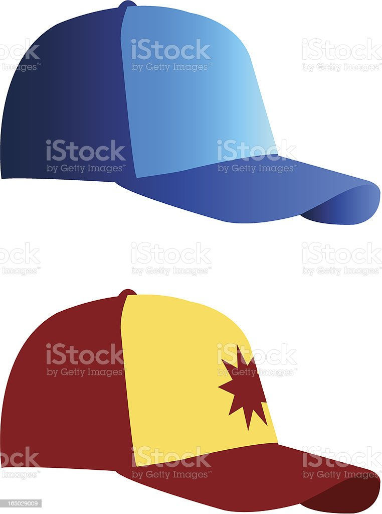 Baseball caps one blue and light blue other red and yellow royalty-free stock vector art