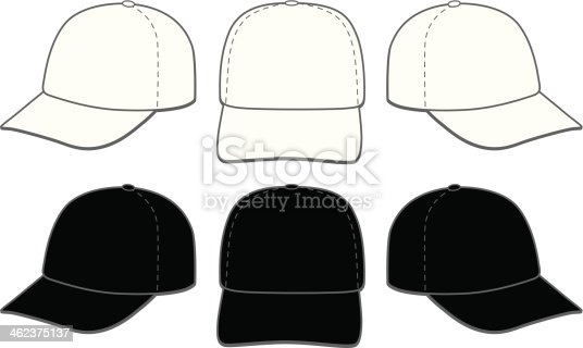 vector illustration of six baseball caps. Three in white and three in black. Great for displaying logo and artwork layouts.
