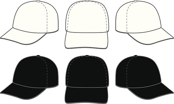 Baseball Caps vector illustration of six baseball caps. Three in white and three in black. Great for displaying logo and artwork layouts. uniform cap stock illustrations