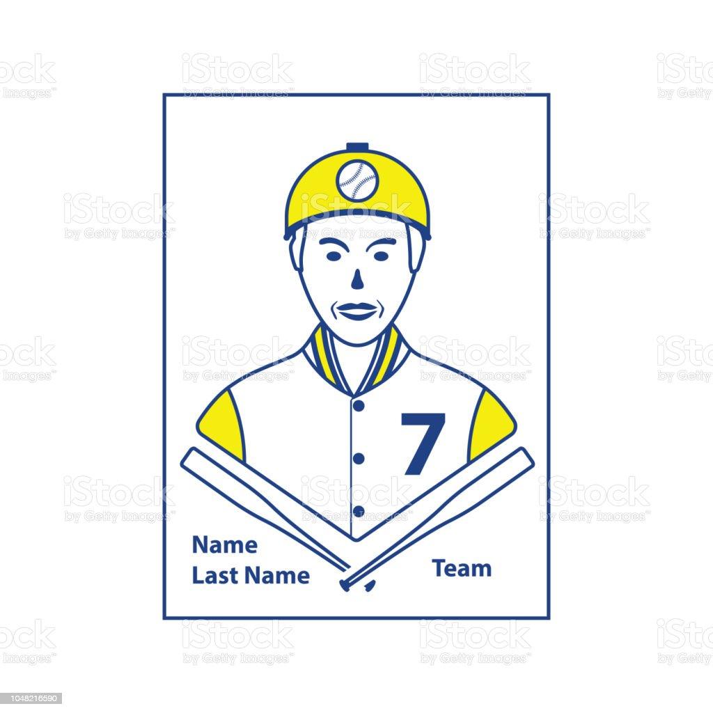 Baseball card icon vector art illustration