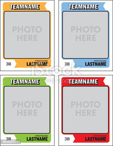 Baseball Card Vector Template Stock Vector Art & More Images of American Football - Sport 534031644
