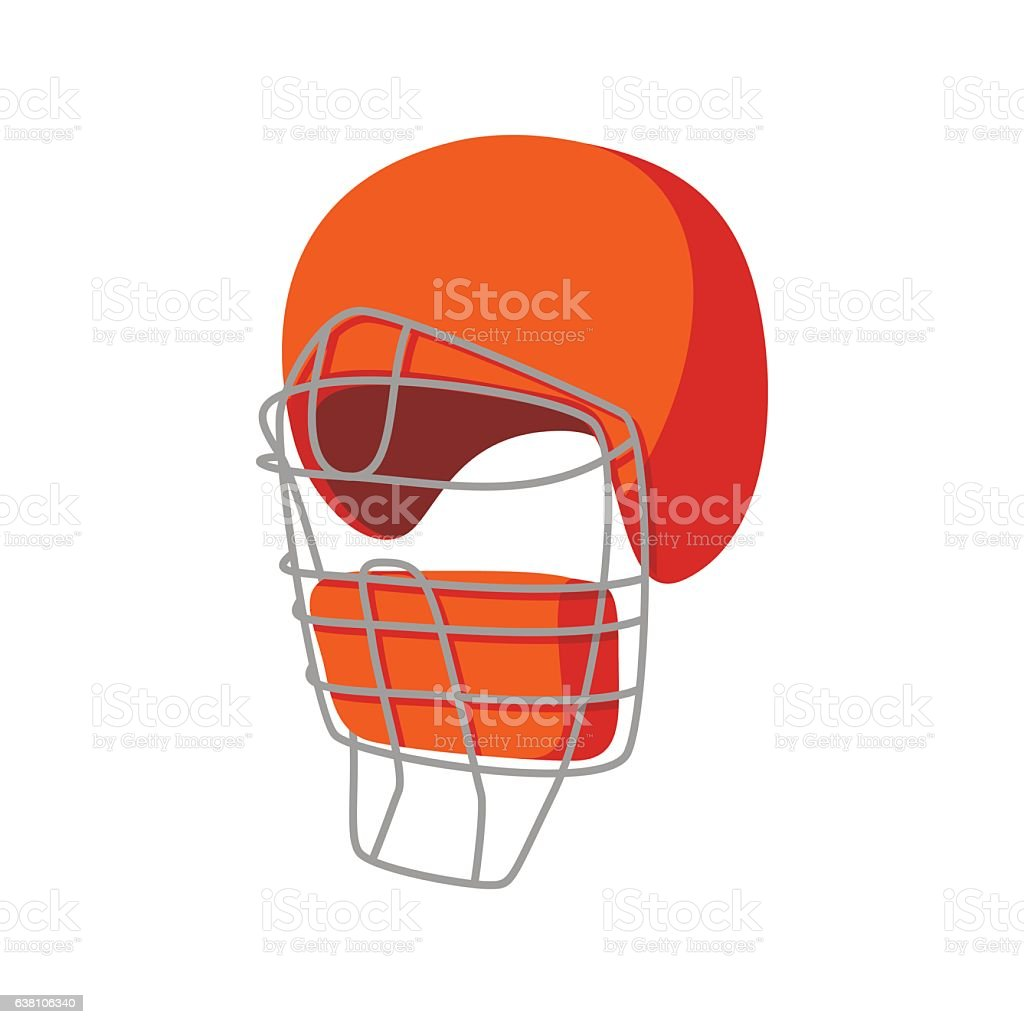 Baseball catcher helmet cartoon icon vector art illustration
