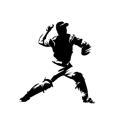 Baseball catcher throwing ball, isolated vector silhouette, ink drawing