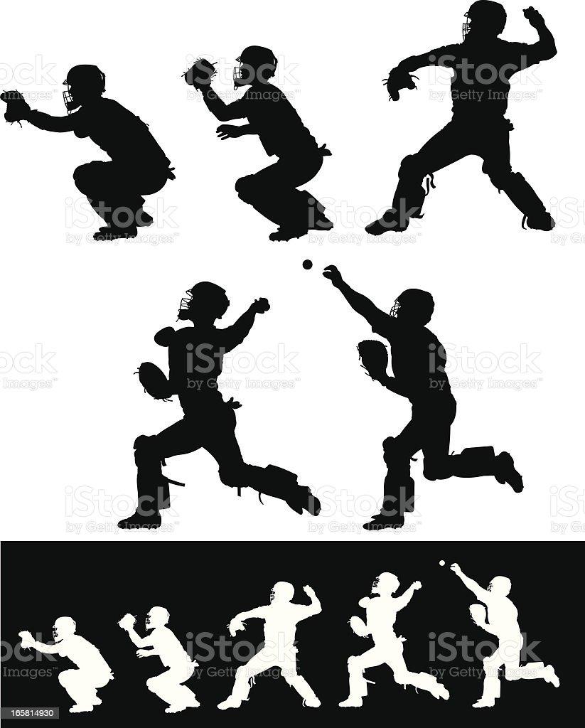 Baseball Catcher Throwing Ball vector art illustration