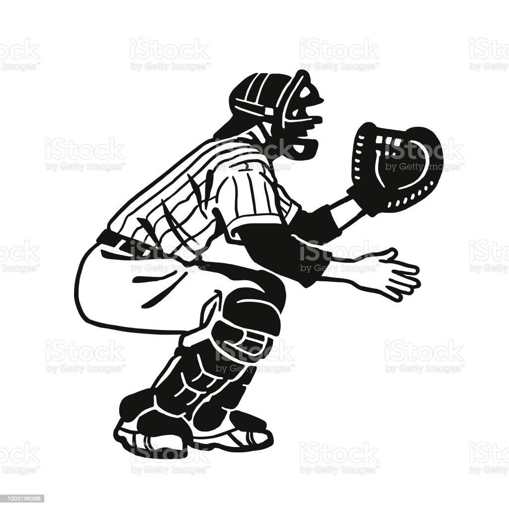 Baseball Catcher Stock Vector Art More Images Of American Culture