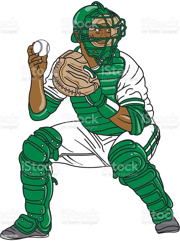 Baseball Catcher vector art illustration