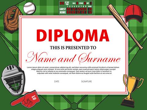 Baseball certificate, sport award diploma, winner