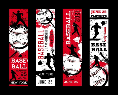 Baseball championship banners, sport game playoff