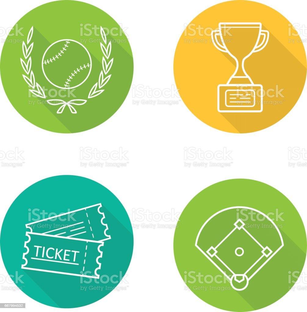 Baseball championship icons vector art illustration