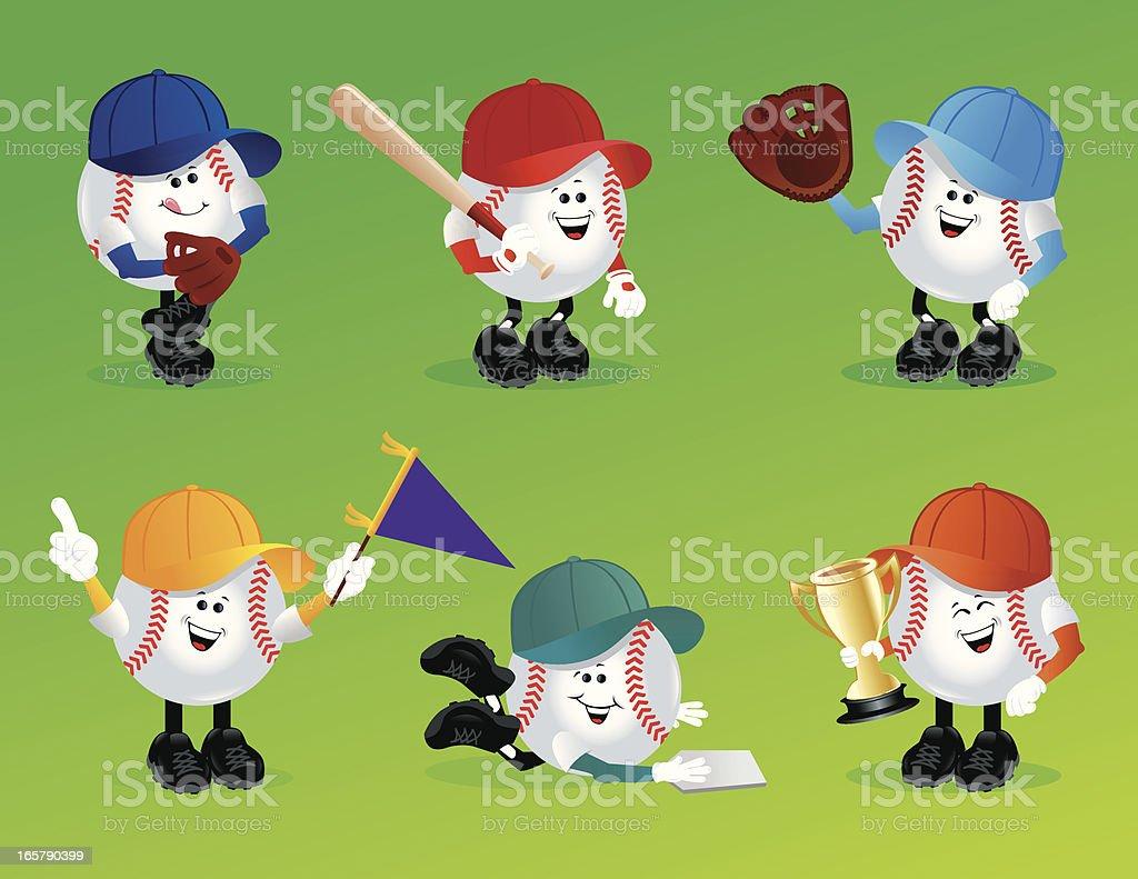 Baseball Characters vector art illustration