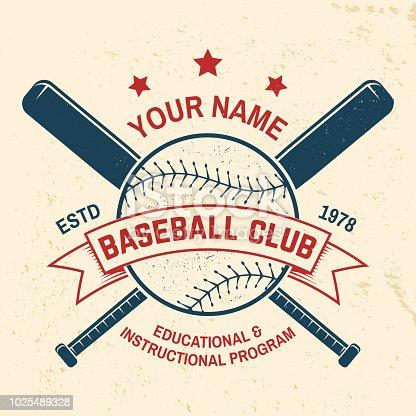 Baseball club badge. Vector illustration. Concept for shirt or logo, print, stamp or tee. Vintage typography design with baseball bats and ball for baseball silhouette.