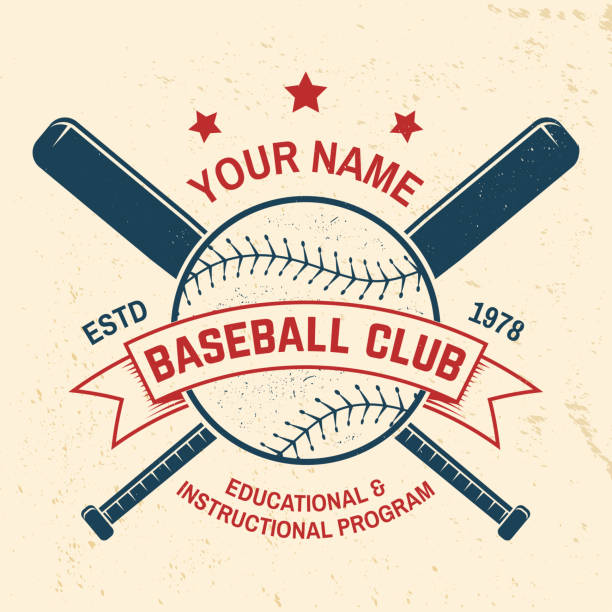 baseball club badge. vector illustration. concept for shirt or logo, print, stamp or tee. - softball stock illustrations, clip art, cartoons, & icons