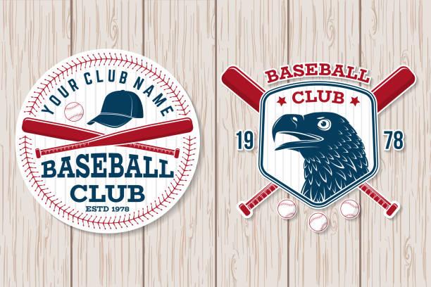 ilustraciones, imágenes clip art, dibujos animados e iconos de stock de insignia del club de béisbol. ilustración de vector. concepto de sello de camisa o insignia, grabada, o tee. - béisbol