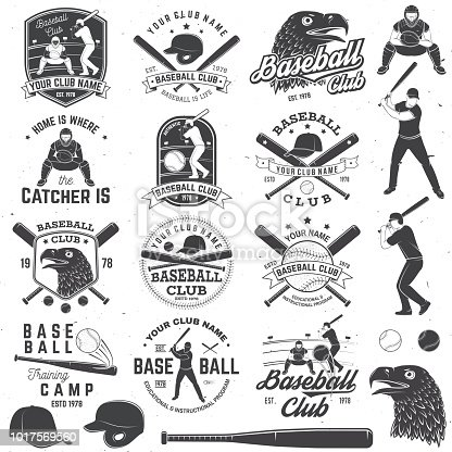 Set of baseball or softball club badge with design element. Vector. Concept for shirt or , print, stamp or tee. Vintage design with baseball bats, catcher, eagle and ball for baseball silhouette.