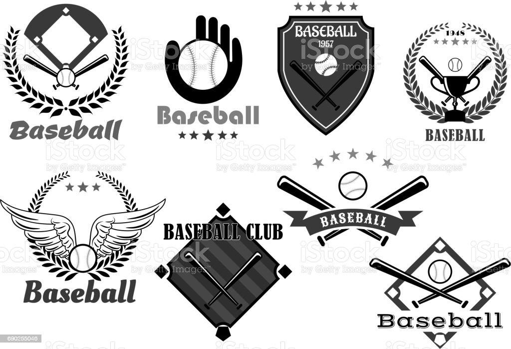 Baseball club vector icons or championship symbols vector art illustration